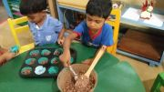 Avisha baking chocolate cornflakes at Golden Glow Montessori on 12 July 2019
