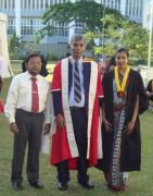 Nadeesha Akara with and his father with their teach Prof Lucas