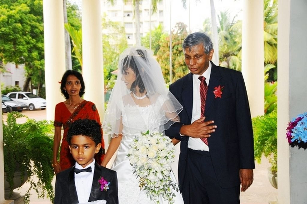Roshanthi coming with parents Ramala and Rohan to the Wedding at St Mary's Church, Bambalapitiya